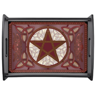 Red Pentagram & Triquatras #3 Serving Tray