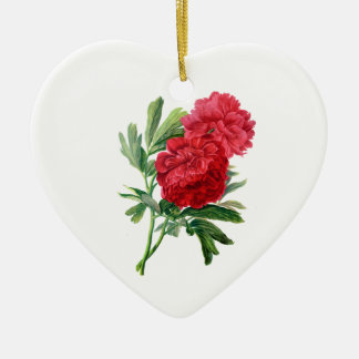 Red Peonies Drawn From Nature Ceramic Heart Decoration