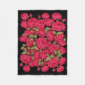 Red Peonies Fleece Blanket