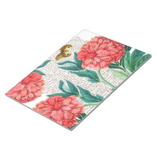 Red Peony Calligraphy Notepad