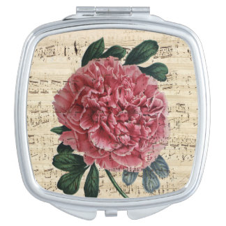 Red Peony Music Compact Mirrors