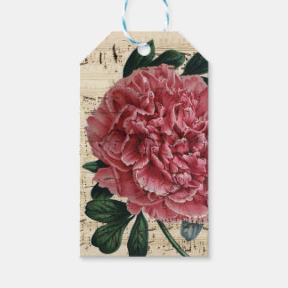 Red Peony Music Gift Tags