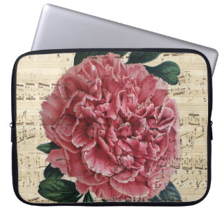 Red Peony Music Laptop Sleeve