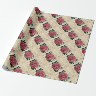 Red Peony Music Wrapping Paper