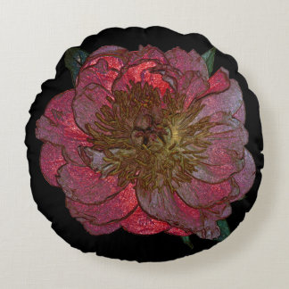 """Red peony Polyester Round Throw Pillow (16"""")"""