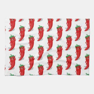 Red Pepper Diva Cartoon Pattern Tea Towel