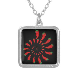 Red Pepper Diva Spiral Silver Plated Necklace