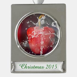 Red Pepper Splash Silver Plated Banner Ornament