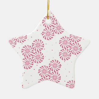 Red Peppermint Candy Christmas Sweets Pattern Ceramic Star Decoration