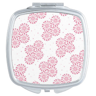 Red Peppermint Candy Christmas Sweets Pattern Makeup Mirrors