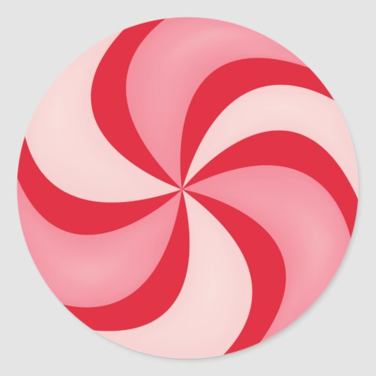 Red Peppermint Candy Holiday Christmas Round Sticker