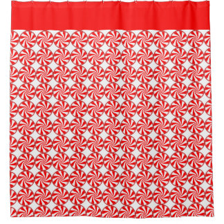 Red Peppermint Candy Swirls Shower Curtain