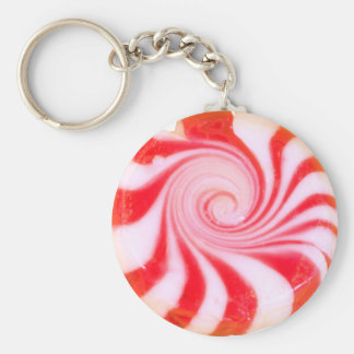 Red peppermint Christmas Mint Basic Round Button Key Ring