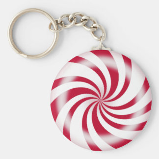 Red Peppermint Swirl Candy Basic Round Button Key Ring