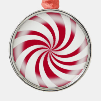 Red Peppermint Swirl Candy Silver-Colored Round Decoration