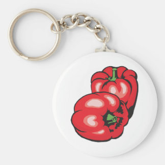 red peppers basic round button key ring