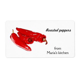 red  peppers shipping label