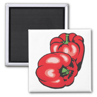 red peppers square magnet