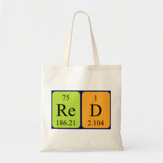 Red periodic table name tote bag