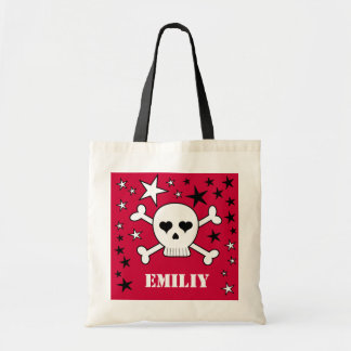 Red Personalizeable Crossbone Skull and Stars Bags