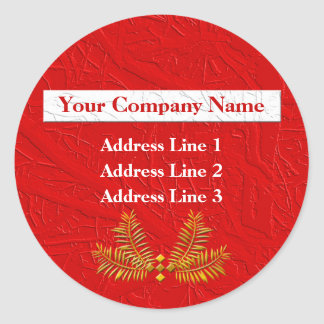 Red Personalized Business Address Lables Round Sticker
