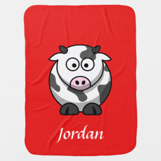 Red Personalized Cow Blanket