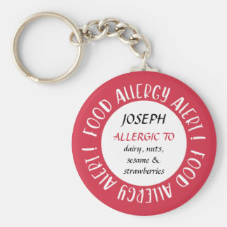 Red Personalized Food Allergy Alert Customized Key Ring