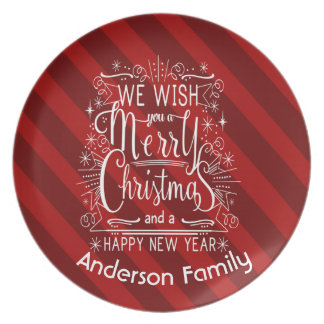 Red Personalized Wish You A Merry Christmas Dish