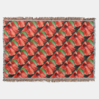 Red Petal and Anther with Pistil of Hibiscus Flowe Throw Blanket