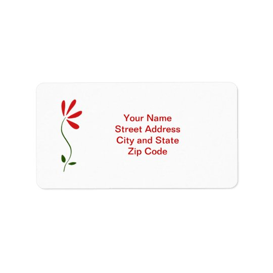 Red Petals Flower Address Label