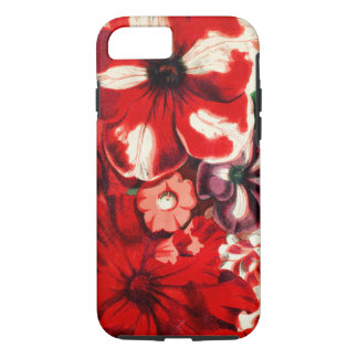 Red Petunia Floral Retro Flower Abstract Pattern iPhone 8/7 Case