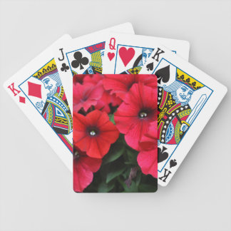 Red petunia flowers bicycle playing cards