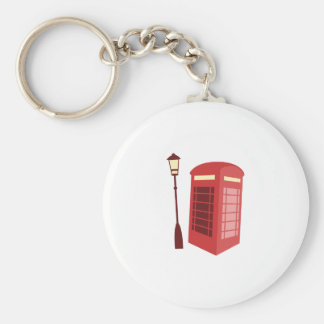 Red Phone Booth Basic Round Button Keychain