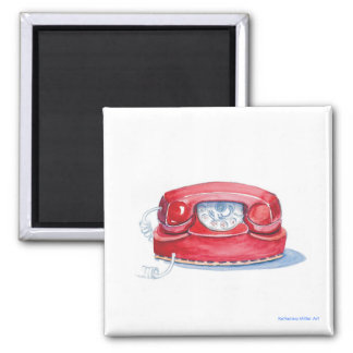 Red Phone Square Magnet