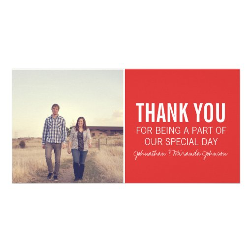 Red Photo Thank You Cards Photo Card Template