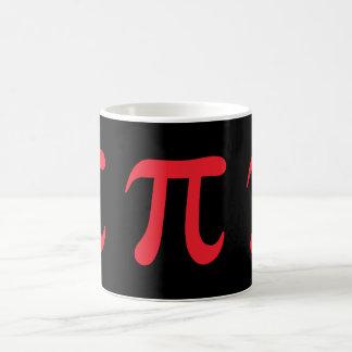 Red pi symbol on black background mugs