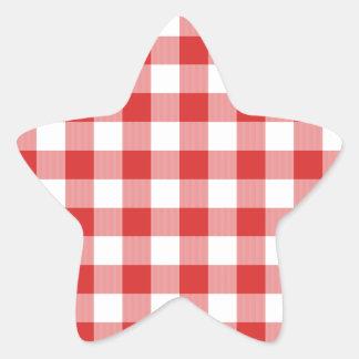 Red picnic checkers star sticker