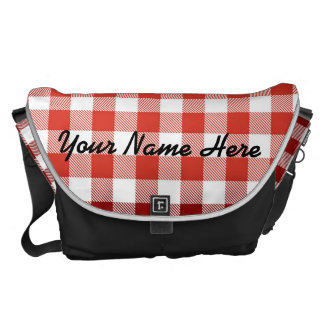 Red Picnic Plaid with Custom Name Courier Bags