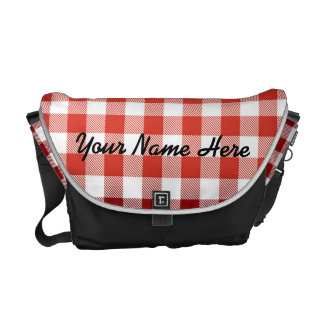 Red Picnic Plaid with Custom Name Messenger Bags