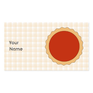 Red Pie Strawberry Tart Beige Check Business Card