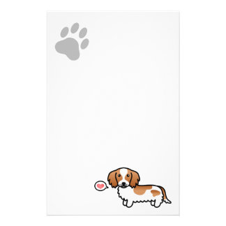 Red Piebald Long Coat Dachshund Cartoon Dog Stationery