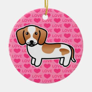 Red Piebald Smooth Coat Dachshund Cartoon Dog Ceramic Ornament