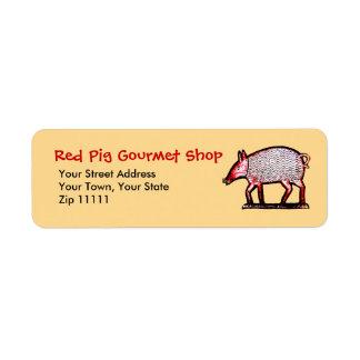 Red Pig Butcher's Shop, Grill, Gourmet Return Address Label