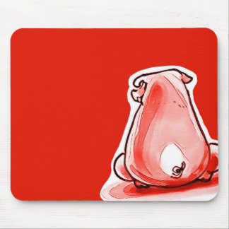 red piggy funny cartoon mouse pad