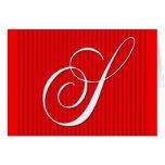 Red Pin Stripe Monogram Notecard- Initial S