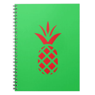 Red Pine apple in  Green Spiral Notebook