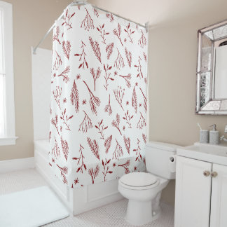 Red Pine Needles Holiday Shower Curtain