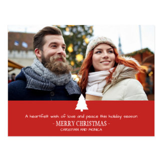 Red Pine Tree Photo Christmas Card