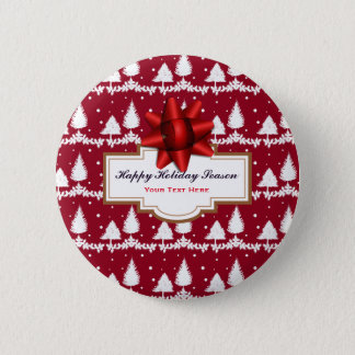 Red Pine Trees Holly and Snow 6 Cm Round Badge