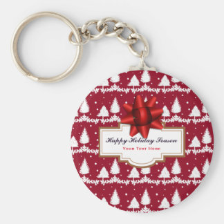 Red Pine Trees Holly and Snow Key Ring